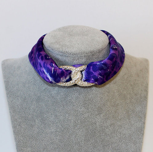 Purple Animal Print Choker Necklace