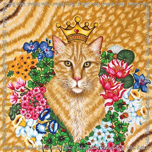 Lucky Cat silk scarf 110x110 cm