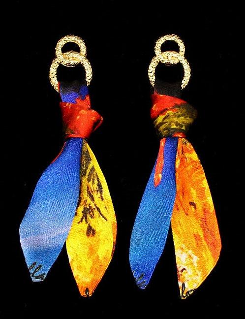 Coral silk tie earring