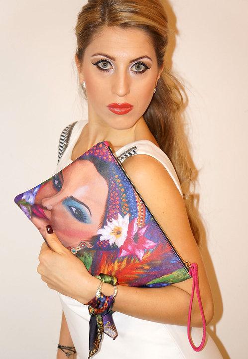Exotic woman clutch bag & silk bracelet