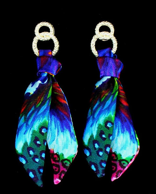 Blue Iris silk tie earring