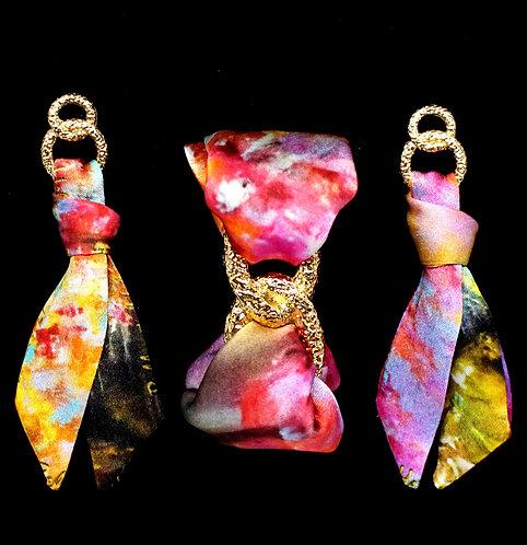 Autumn silk tie earring & bracelet