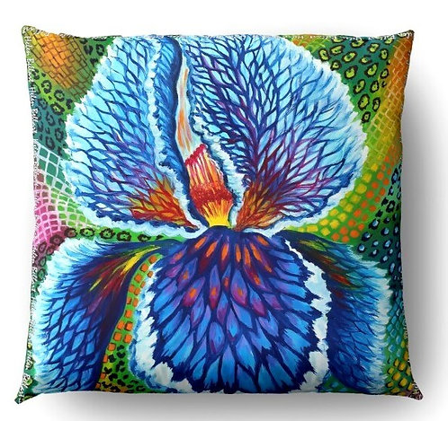 Blue Iris decorative pillow cover