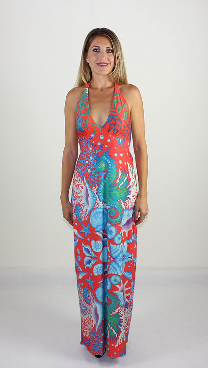 Seahorse long backless dress