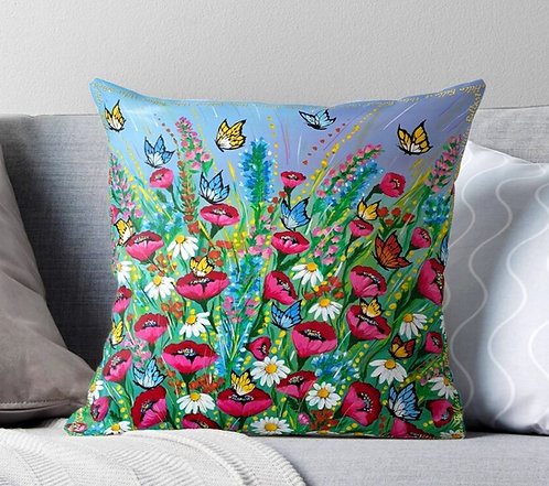 Spring flower field decorative pillow cover