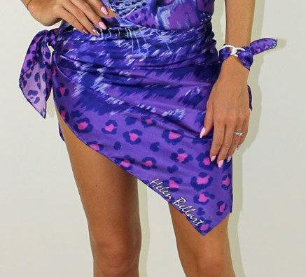 Purple Animal Print silk pareo 110x110 cm