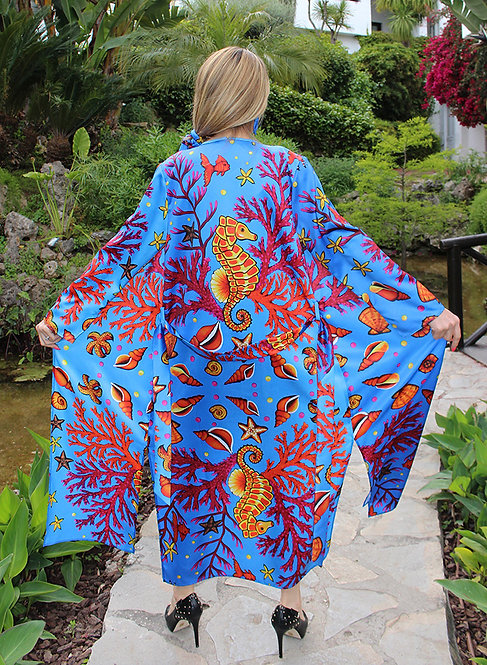 Yellow Seahorse long kimono