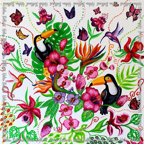 Tropical garden silk scarf 110x110 cm