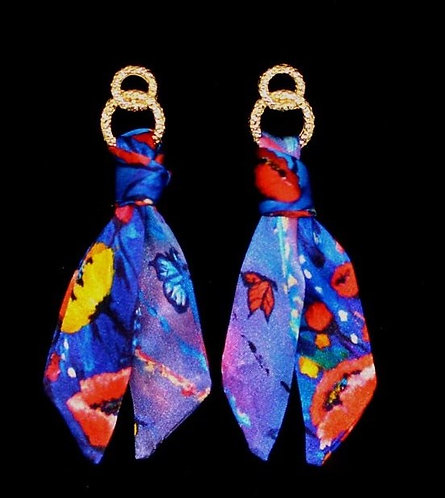 Poppy silk tie earring