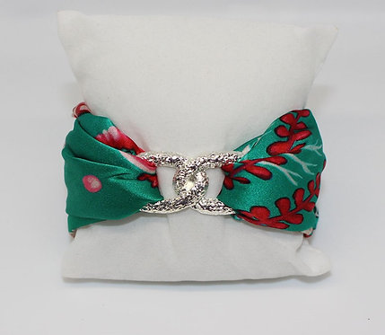 Pink Seahorse Infinity silk bracelet