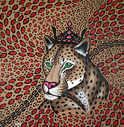 Leopard & Red animal print artwork