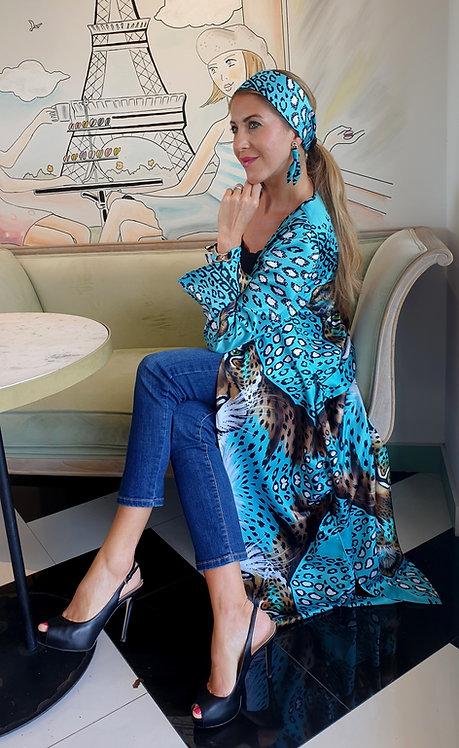 Turquoise Leopard long kimono