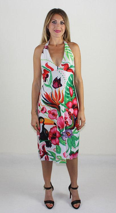 Vestido de verano sin respaldo de jardín tropical