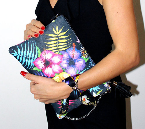 Hawaii clutch bag & silk bracelet