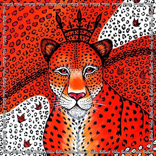 Orange Leopard silk scarf 110x110 cm