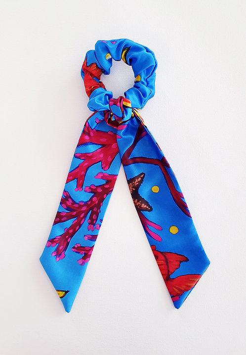 Yellow Seahorse bow scrunchie