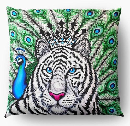White Tiger decorative pillow cover
