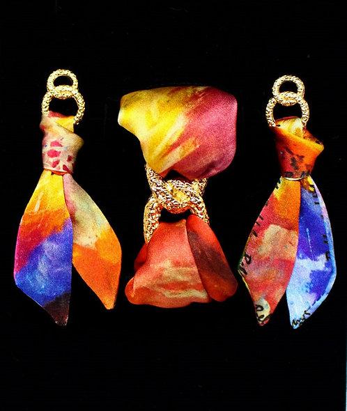 Blooming Iris silk tie earring & bracelet set