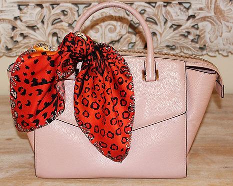 Orange Leopard silk scarf 45x45 cm