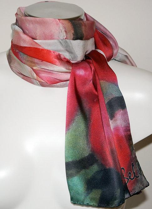 Pink flower silk scarf 180x45 cm