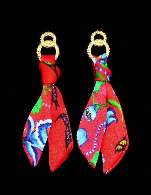 Exotic Garden silk tie earring