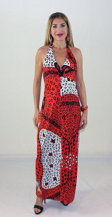 Orange Leopard long backless dress