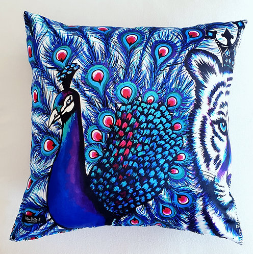 Tiger & Peacock decorative pillow cover