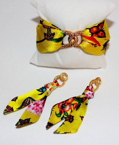 Butterfly Paradise silk tie earring &bracelet set