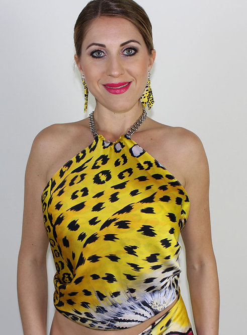Yellow Leopard silk top