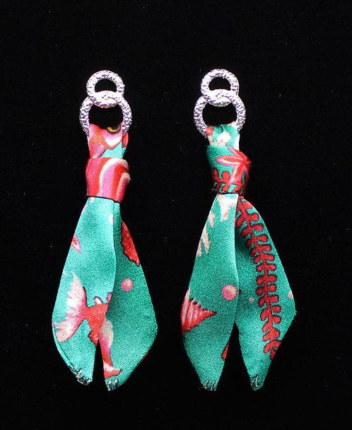 Pink Seahorse silk tie earring