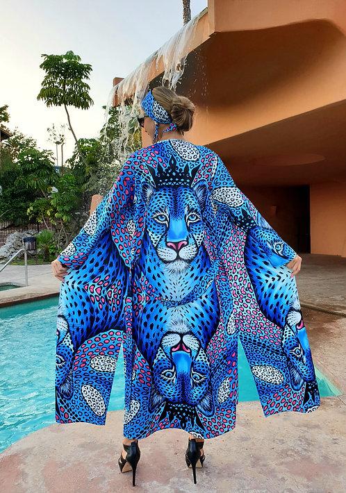 Blue Leopard long kimono