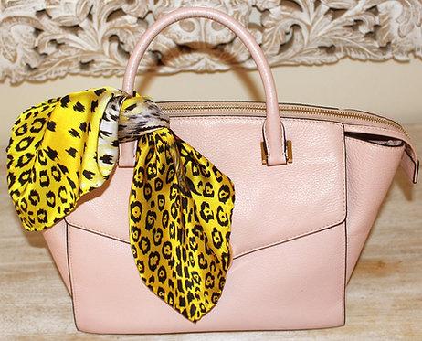 Yellow Leopard silk scarf 45x45 cm