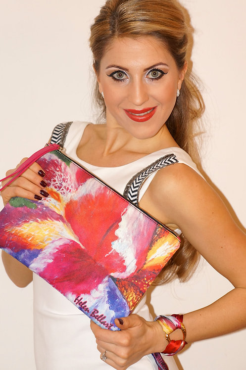 Blooming Iris clutch bag & silk bracelet
