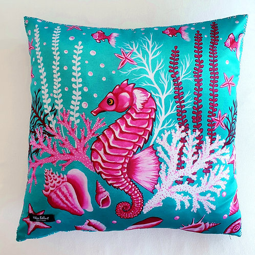 Pink seahorse decorative pillow cover