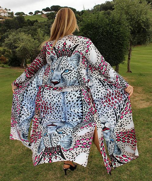 White Leopard long kimono