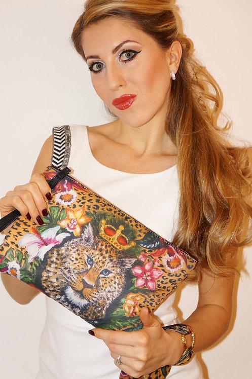 Leopard clutch bag & silk bracelet