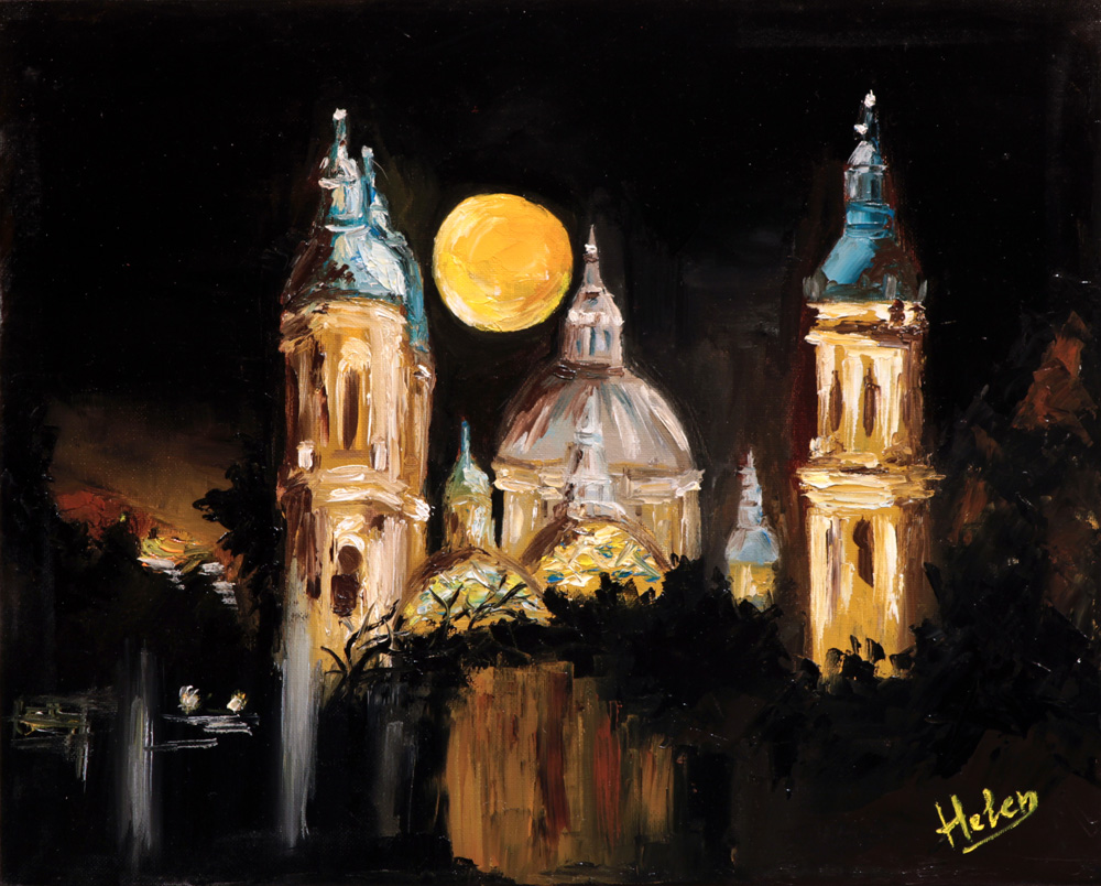 Basilic Pilar at night, 41x33cm