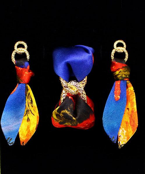 Coral silk tie earring & bracelet set