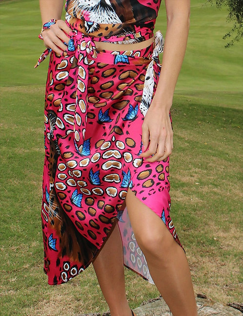 Candy Leopard Wrap Skirt