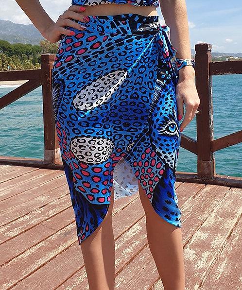 Blue Leopard Wrap Skirt