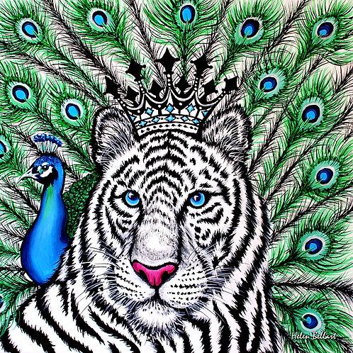 White Tiger silk scarf 110x110 cm