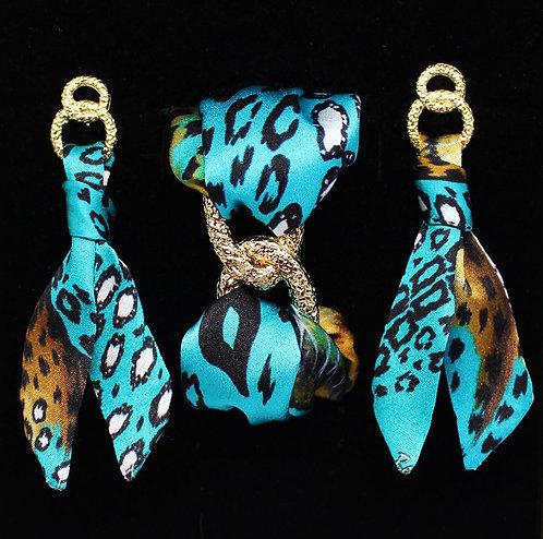 Turquoise Leopard silk tie earring & bracelet