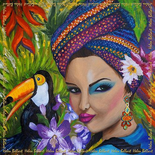 Exotic woman silk scarf 110x110 cm