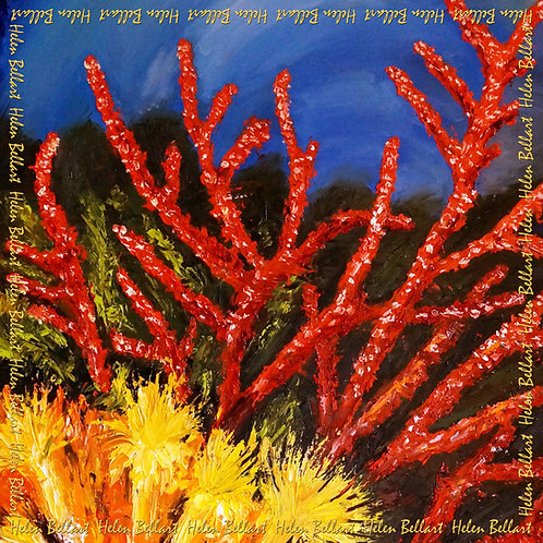 Coral silk scarf 110x110 cm