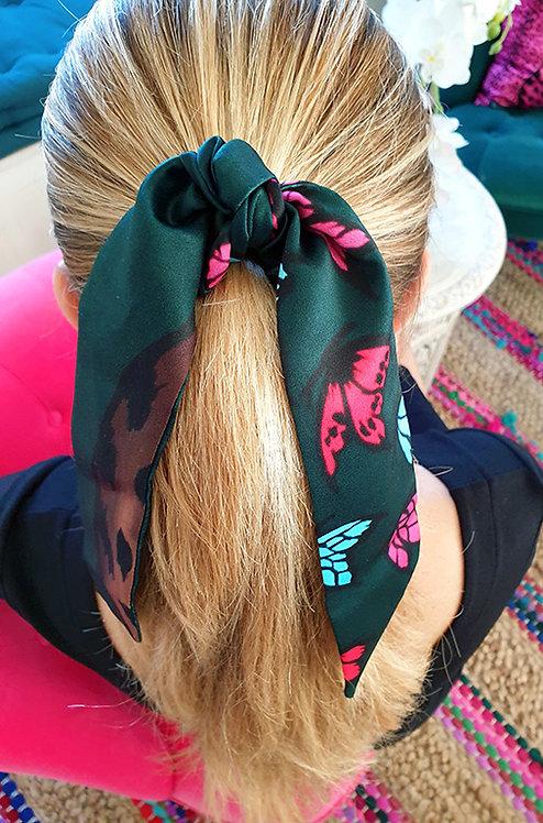 Leopard & Butterflies bow scrunchie