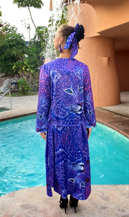 Purple animal print long kimono-cardigan