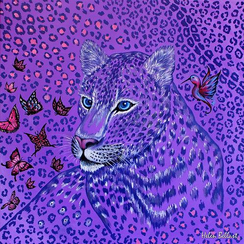 Purple Animal Print silk scarf 110x110 cm