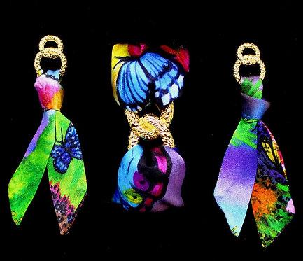 Butterfly silk tie earring & bracelet