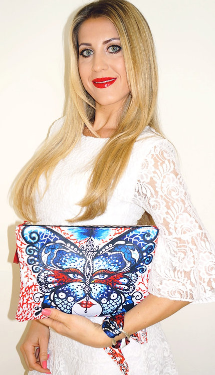 Coral Butterfly clutch bag & silk bracelet