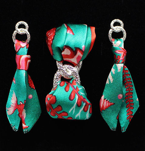 Pink Seahorse silk tie earring & bracelet